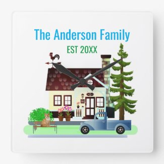 New Home with Family Name Square Wall Clock