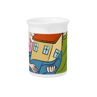 New Homeowners Cartoon Beverage Pitcher