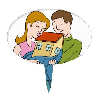 New Homeowners Cartoon Cake Topper