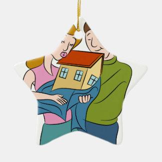 New Homeowners Cartoon Ceramic Ornament