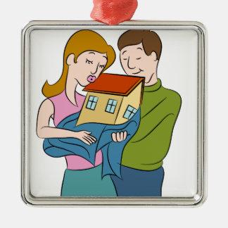 New Homeowners Cartoon Metal Ornament
