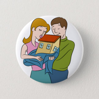 New Homeowners Cartoon Pinback Button