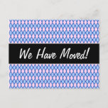 [ Thumbnail: New House; Blue and Pink Diamond Shape Pattern Postcard ]