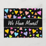 [ Thumbnail: New House; Fun, Loving, Colorful Hearts Pattern Postcard ]
