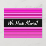 [ Thumbnail: New House; Magenta and Pink Stripes/Lines Pattern Postcard ]