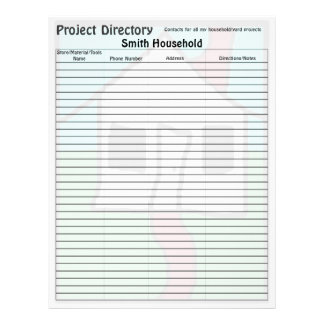 New House Project Directory Page Letterhead