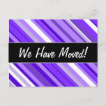 [ Thumbnail: New House; Purple and White Striped Pattern Postcard ]