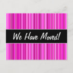 [ Thumbnail: New House; Thin Magenta and Pink Stripes Pattern Postcard ]