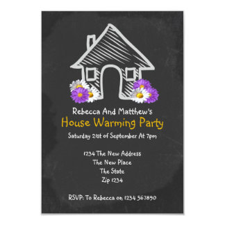 New House Warming Party Blackboard Doodle Card