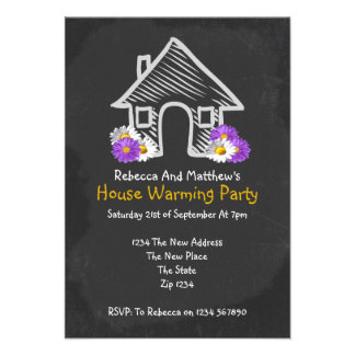 New House Warming Party Blackboard Doodle Custom Invites