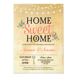 New House warming Sweet Home Key Invitation Invite