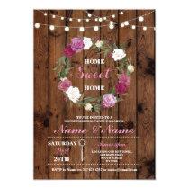 New Housewarming Sweet Home Key Wood Rustic Invite