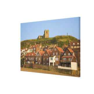 New housing and St Margarets church, Whitby, Canvas Print