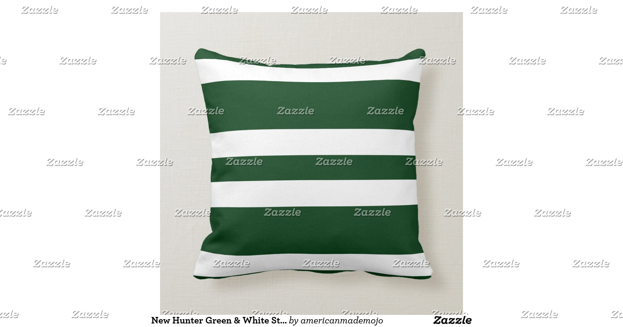 New Hunter Green & White Stripe Couch Pillow Gift Zazzle