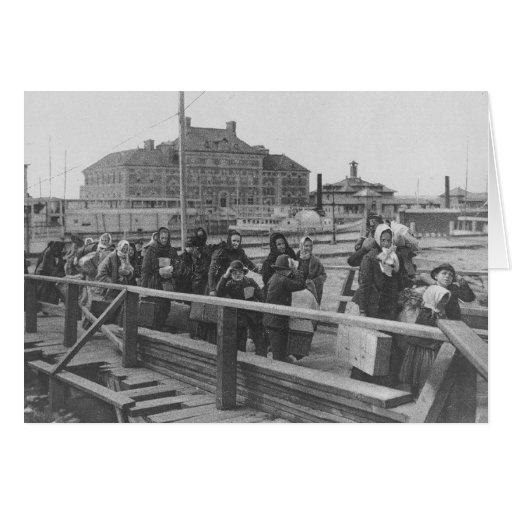 New Immigrants Landing at Ellis Island New York Greeting Cards
