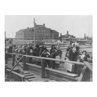 New Immigrants Landing at Ellis Island New York Postcard