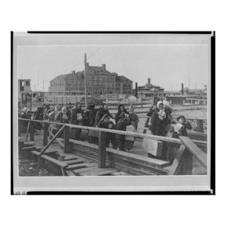 New Immigrants Landing at Ellis Island New York Poster