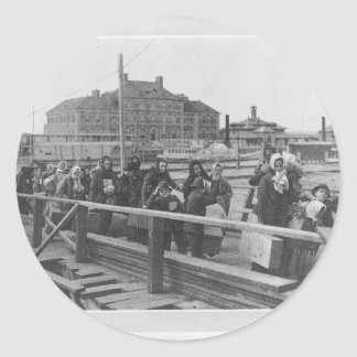 New Immigrants Landing at Ellis Island New York Classic Round Sticker