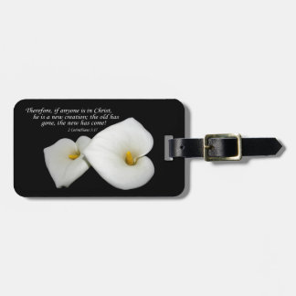 new in Christ scripture with lilies luggage tag