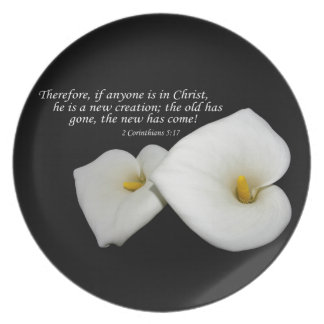 new in Christ scripture with lilies plate