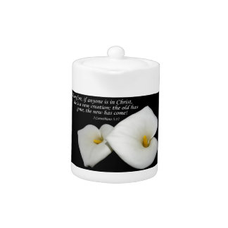 new in Christ scripture with lilies teapot