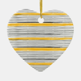 New in shop : Designers heart with gold stripes Ceramic Ornament