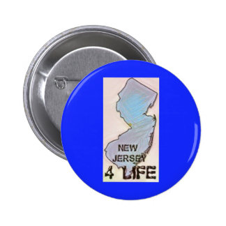 """""""New Jersey 4 Life"""" State Map Pride Design Button"""
