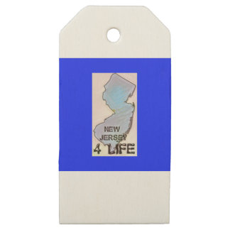 """""""New Jersey 4 Life"""" State Map Pride Design Wooden Gift Tags"""