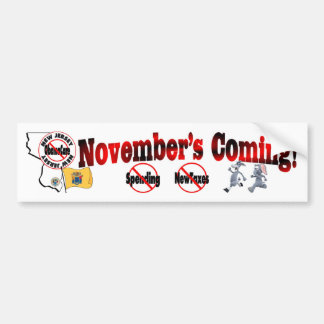 New Jersey Anti ObamaCare – November's Coming! Bumper Sticker