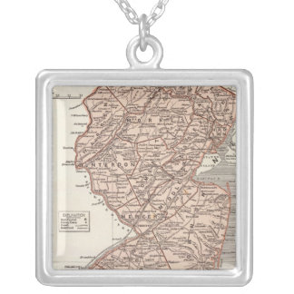 New Jersey Atlas Map Silver Plated Necklace