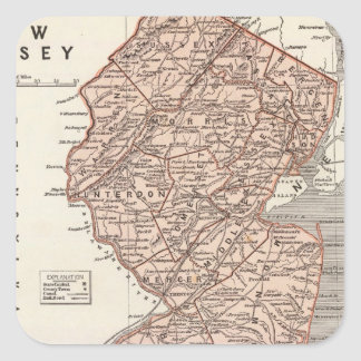 New Jersey Atlas Map Square Sticker