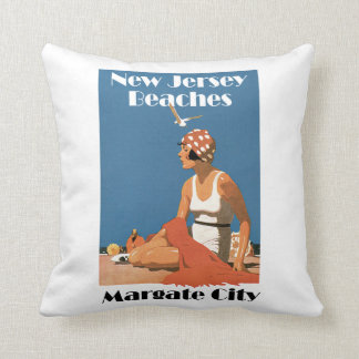 New Jersey Beaches ~ Margate City Throw Pillow
