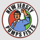 New Jersey bombea los puños Pegatina Redonda