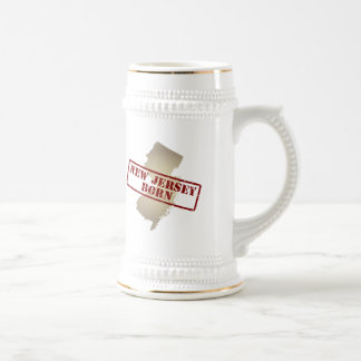 New Jersey Born - Stamp on Map Beer Stein