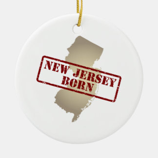 New Jersey Born - Stamp on Map Ceramic Ornament