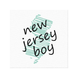 New Jersey Boy on Child's New Jersey Map Drawing Stretched Canvas Print