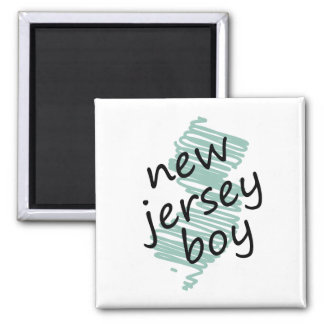 New Jersey Boy on Child's New Jersey Map Drawing Magnet