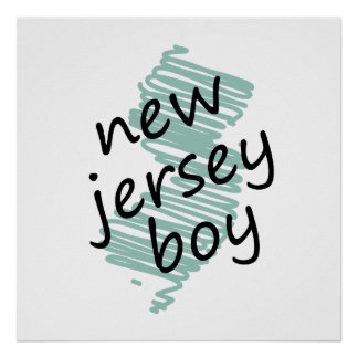 New Jersey Boy on Child's New Jersey Map Drawing Posters