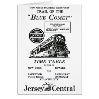 New Jersey Central Blue Comet Train Stationery Note Card