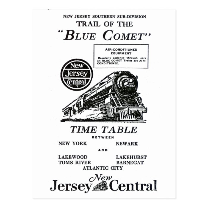 New Jersey Central Blue Comet Train Postcard
