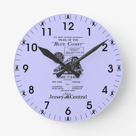 New Jersey Central Blue Comet Train Wall Clock