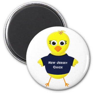 New Jersey Chick Cute Cartoon Chicken 2 Inch Round Magnet
