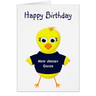 New Jersey Chick Cute Cartoon Chicken Card