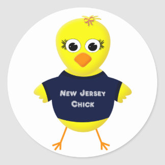 New Jersey Chick Cute Cartoon Chicken Classic Round Sticker