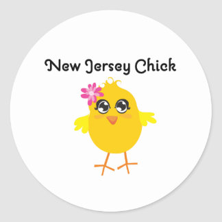 New Jersey Chick Round Stickers