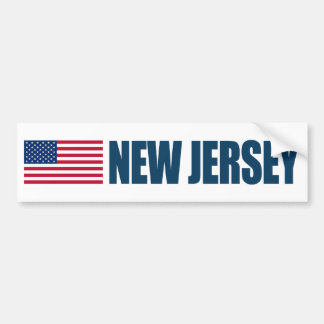 New Jersey con la bandera de los E E U U Pegatina De Parachoque