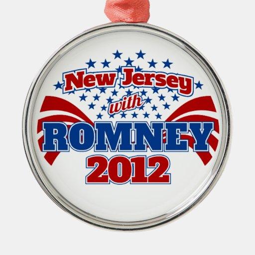New Jersey con Romney 2012 Adorno Navideño Redondo De Metal