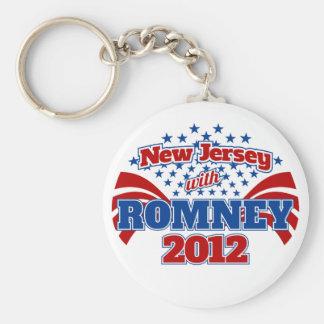 New Jersey con Romney 2012 Llavero Redondo Tipo Pin
