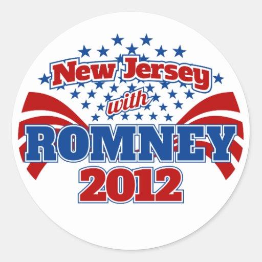 New Jersey con Romney 2012 Pegatinas Redondas