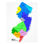 """New Jersey Counties in Color 8.5"""" X 11"""" Flyer"""